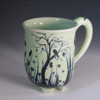 Celadon green Porcelain Cup, Indigo Blue Hand Painted Mug, Porcelain Coffee Mug or Cup