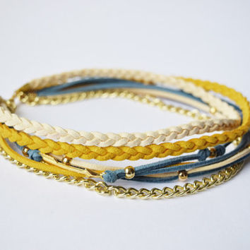 Autumn Bracelet, Bohemian Jewelry, Boho Wrap Bracelet,Blue and mustard bracelet,Womens accessories,Suede cord,Gypsy Bracelet