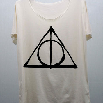 Deathly Hallows Harry Potter T Shirts Cream Unisex handmade silk screen printing Size M, L