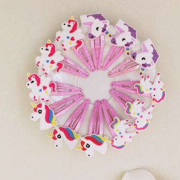 10pcs Unicorn Hairpin Party  Birthday Party Decorations For Kids Favors Colorful  Decor Party Supplies girls gift