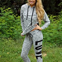 gray jogger suit