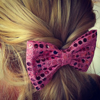 BIG Sparkling pink hair bow (S-N-003)