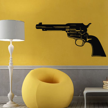 Wall Decals Vinyl Decal Sticker Art Murals Decor Gun Pistol Weapon Design Kj918