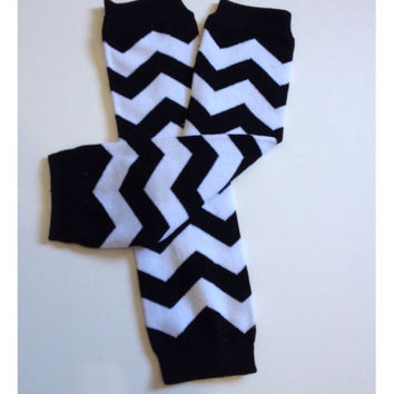 Black Chevron Baby Toddler Arm Leg Warmers Boys Girls Children Socks Legging NEW
