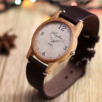 Wooden watch, womens wristwatch, beech