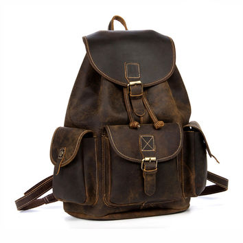 Vintage Classic Dark Brown Rich Oil-Pull Full-Grain Leather Backpack