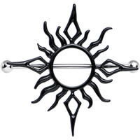 Black Tribal Sun Fire Nipple Shield | Body Candy Body Jewelry