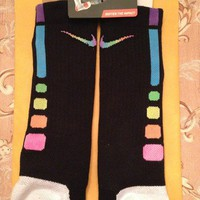 *Rare* Custom Rainbow Nike Elite Socks (Mens Large)