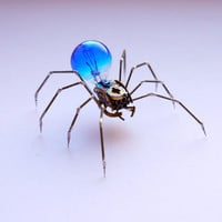Spider Sculpture No 47 Recycled Watch Parts Clockwork Arachnid Figurine Stems Lightbulb Arthropod A Mechanical Mind Gershenson