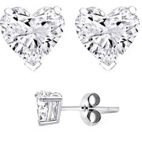 Yes It's Sterling Silver Heart Shaped Stud Earrings 8mm 4.00 Carat Total Weight