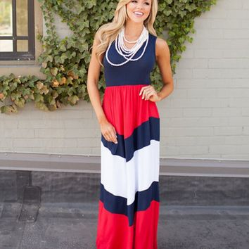 Blue And Red Stripe Maxi Dress
