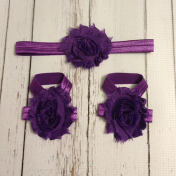 Baby Barefoot Sandal Headband Set...Purple Barefoot Sandals...Purple Baby Girl Headband