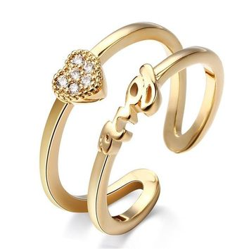 Silver Gold Color Opened Double Circle Ring Heart Love Letter Rhinestone Adjustable Rings