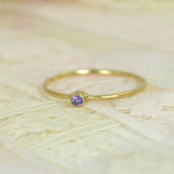 Tiny Solid 14k Gold Amethyst Ring Wedding Set