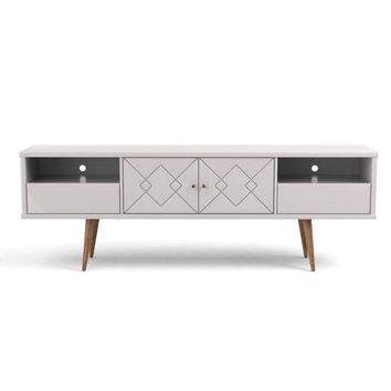 "Trinity 70.86"" Mid- Century Modern TV Stand with Solid Wood Legs, White Gloss"