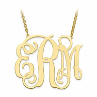 Gold Plated Sterling Silver 30mm .027 Gauge Monogram Plate Necklace