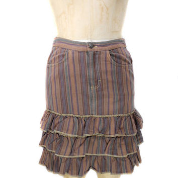 1990s Anna Sui Striped Denim Skirt / Ruffled Skirt / Tiered / Jean Skirt / Grunge / Cotton / Womens Vintage Skirt / Size Small