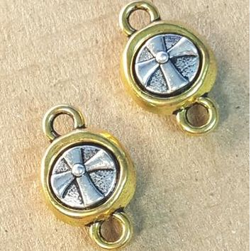 AB-0211 - Gold And Silver Pewter Jewelry Connector With Cross, 10x18mm | Pkg 2
