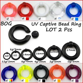 ac DCCKO2Q Pair UV Acrylic Big Large Size Giant Spring Load Captive Bead Ring Ear Tunnel Plug Expander Guauge Piercing Body Jewelry Earring