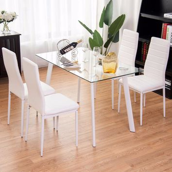 Giantex 5Pcs Dining Set Tempered Glass Top Table & 4 Chairs Kitchen Furniture White New Living Room Set HW57911+