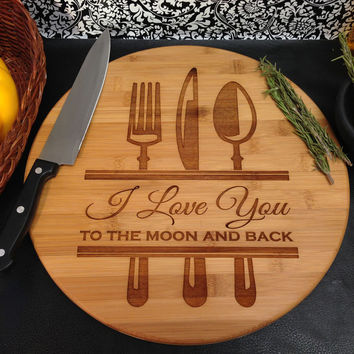 Personalized Fork Knife Spoon Cutting Board
