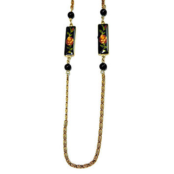 Cloisonne with Flowers on Black Enamel Panels on Gold Tone Long Snail Chain with Black Glass Beads