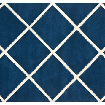 Rue Rug, Navy/Ivory, Area Rugs