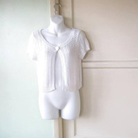 White Scoopneck One-button Swing Cardi; Women's Small Short-Sleeve Cardigan; U.S. Shipping Included