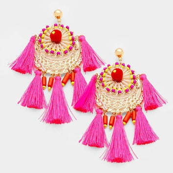 Pink & Gold Bohemian Style Thread Tassel Earrings