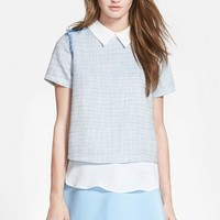 Women's Sister Jane 'New Oyster' Double Layer Tweed Blouse