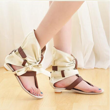 Women Cut Out Summer Hemp Ankle Sandals Boots  Open The Toe Cutout  Boots Plus Size 41 42 43 Big Size Lady Flat Heels Shoes
