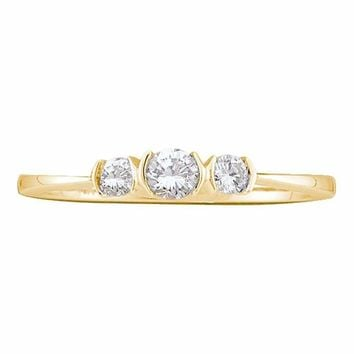 14kt Yellow Gold Women's Round Diamond 3-stone Bridal Wedding Engagement Ring 1-4 Cttw - FREE Shipping (US/CAN)