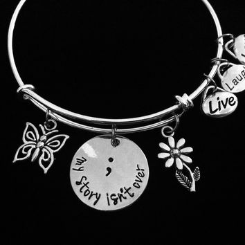 My Story Isn't Over Yet Semicolon Jewelry Expandable Charm Bracelet Adjustable Bangle Meaningful Gift