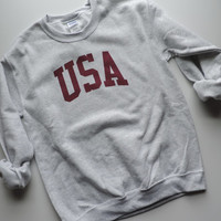 New USA Retro Ash Gray Crewneck Sweatshirt Pullover // Size S-XL
