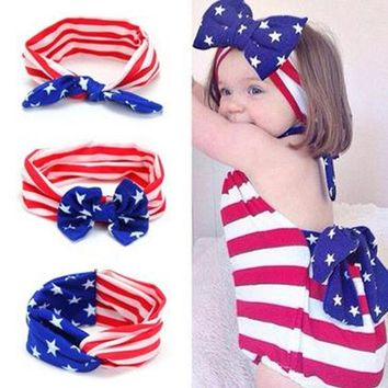 DCCKJG2 1 pc European and American popular American flag children Cross Bow Headband with the baby aTRQ0772