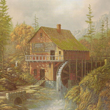 Vintage Print Old Mill with Water Wheel Autumn Woods Doug Tope Sullivan's Famous Flour Milling Co – Ready for Framing