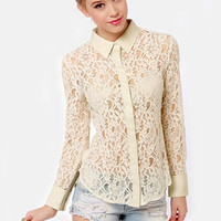 Pretty Romantic Cream Lace Button-Up Top