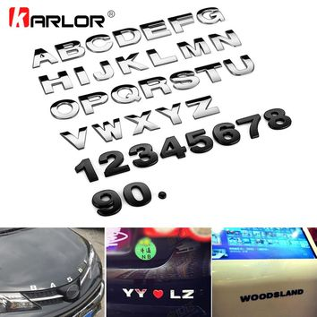 25mm Car Auto Chrome Metal DIY 3D ARC Letters Digital Alphabet Emblem Decoration Car Stickers Logo Automobiles Car Accessories