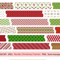 Nordic Christmas Washi Tape Transparent Clip Art Set Scandinavian Printable Designs Instant Download Scrapbooking Collection - Red Green