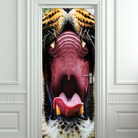 "Wall Door STICKER tiger mouth animal poster, mural, decole, film 30x79"" (77x200 Cm)"
