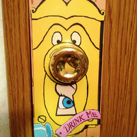 Alice in Wonderland Doorknob door hanger. Drink me.