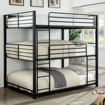 Furniture of america CM-BK917F Carolyn triple full bunk bed full over full over full sand black metal frame industrial bunk bed