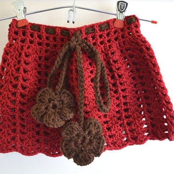 Handmade Crochet Burgundy Skirt Size 12-18 Month Toddler Girl With Brown Drawstrings and Crochet Flowers at the End