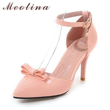 Meotina Women Shoes Ankle Strap High Heels Bow Pumps Pointed Toe Stiletto Heel Pumps Autumn Size 33 9 43 Party Ladies Shoes Pink