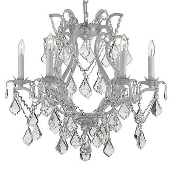 Gallery Versailles Wrought Iron Crystal 6-Light Chandelier (White)