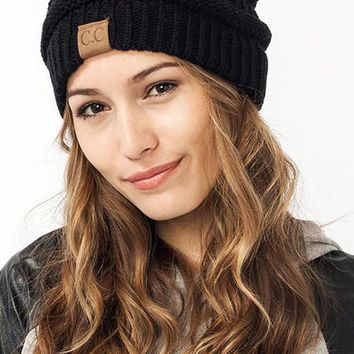PEAPDQ7 Trendy Comfortable CC Black Knitted Beanies