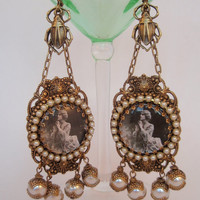 Pearly Drops Flapper Deluxe Earrings. Glorious Gold and Pearl Earrings