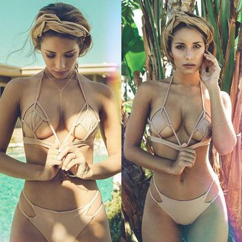Sexy more holes show body Three-point swimsuit pure color apricot two piece bikini