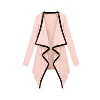 Pink Contrast Long Sleeve Asymmetric Cape Cardigan Top