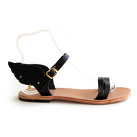 FREE SHIPPING - Hermes winged UNISEX handmade leather Greek sandals, More colours, Monochrome.